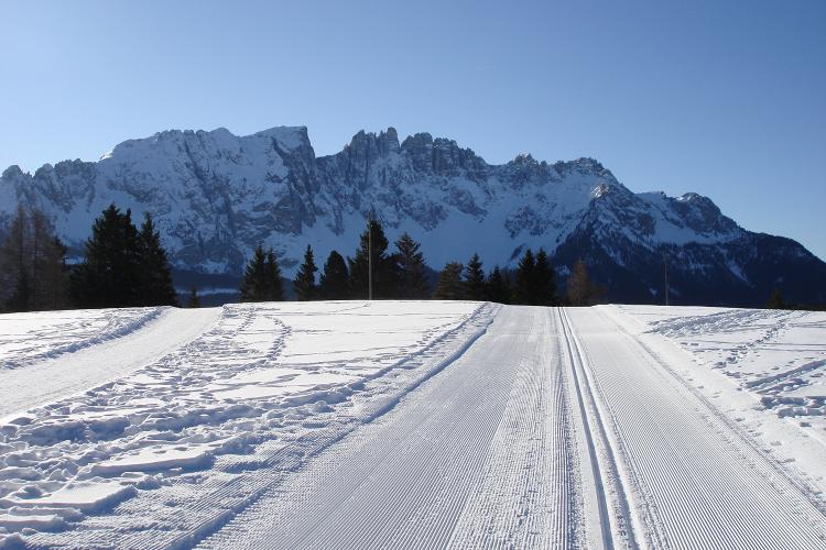 Cross country skiing trail on the Seiser Alm