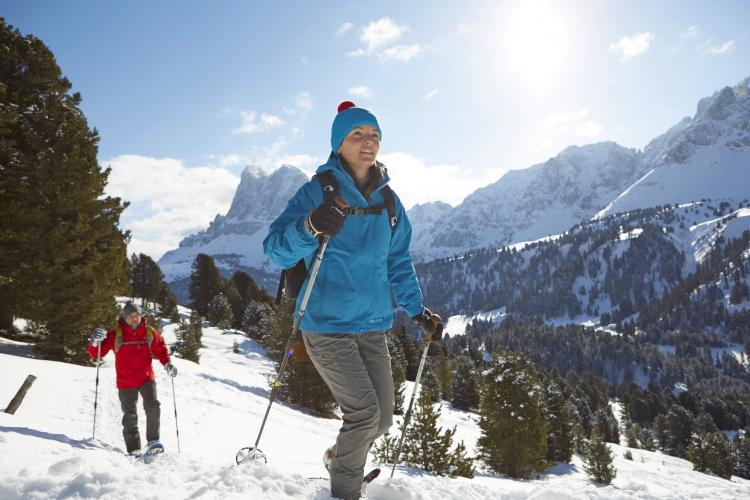 Snow shoe hike in the Dolomites